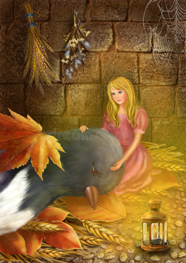 Thumbelina and the swallow. Illustration to the fairy tale Thumbelina. Thumbelina and the swallow. Thumbelina helps swallow royalty free illustration
