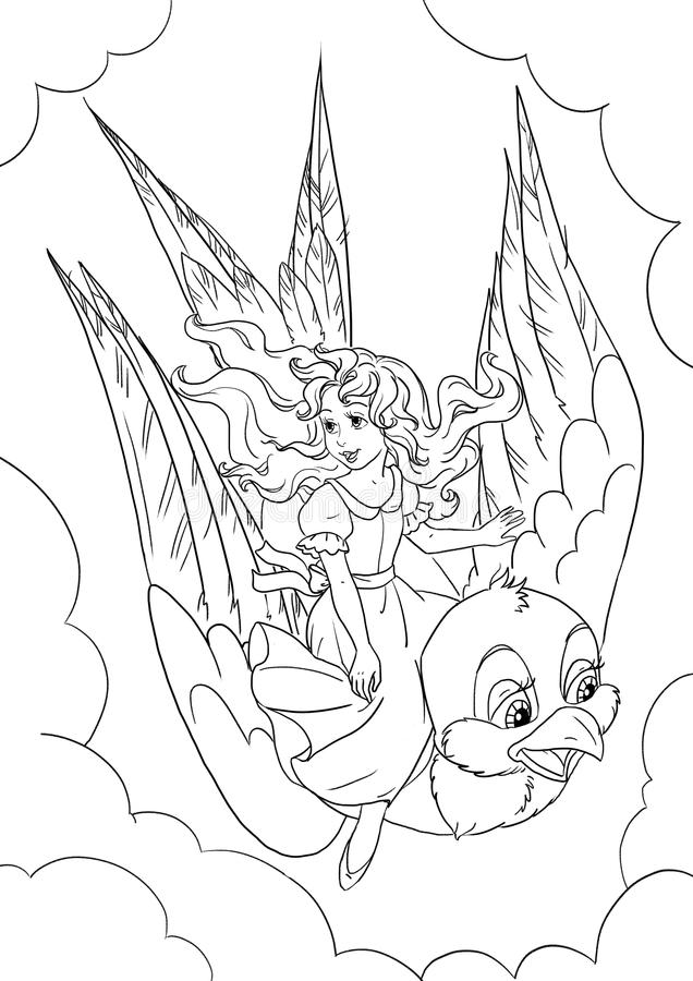 download thumbelina coloring page stock illustration image of line 58341024