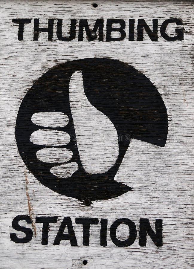 Thumbing station stock image