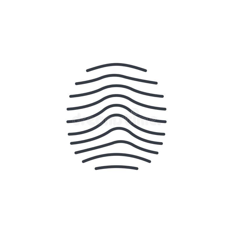 Thumbprint biometrico, ricerca del dito, linea sottile sicura icona di identificazione Simbolo lineare di vettore illustrazione di stock