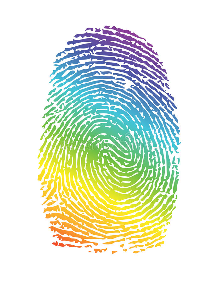 Thumbprint de fierté d'arc-en-ciel. empreinte digitale illustration libre de droits