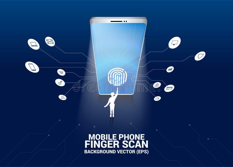 Thumbprint del tacto del hombre de negocios en icono de la exploración del finger en pantalla del teléfono móvil libre illustration