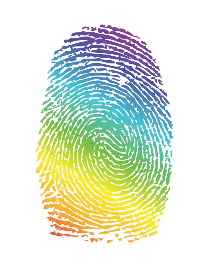Thumbprint do orgulho do arco-íris. impressão digital ilustração royalty free