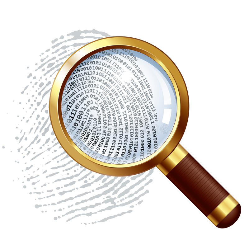Thumbprint examination stock illustration