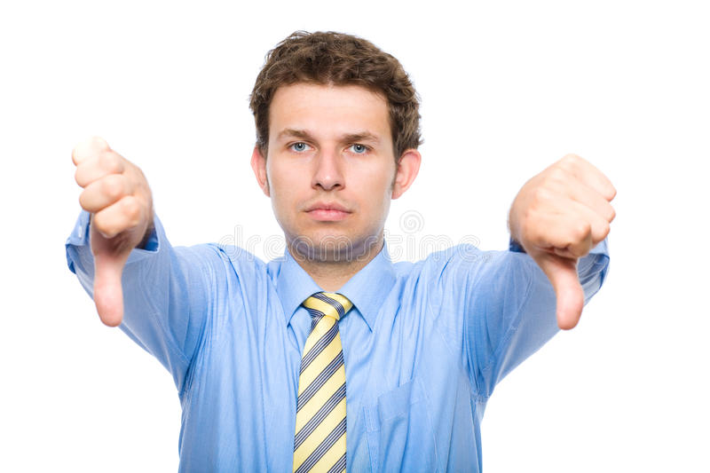 Thumbs down, studio isolated shoot royalty free stock photography