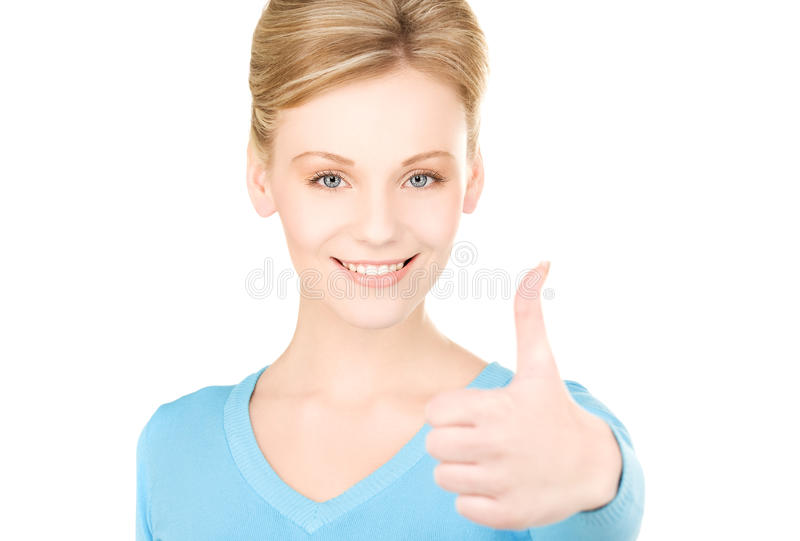 Thumbs up. Bright picture of lovely woman with thumbs up stock photo