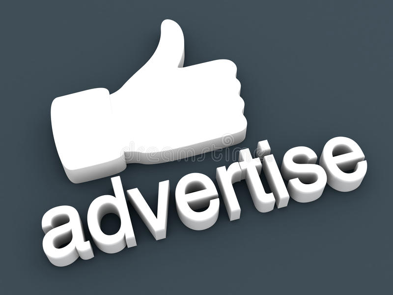 Thumbs up - Advertise. Thumbs up for Advertising. 3D rendered Illustration royalty free illustration