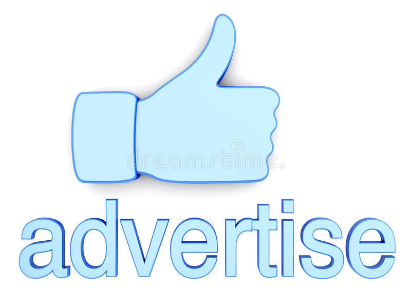 Thumbs up - Advertise. Thumbs up for Advertising. 3D rendered Illustration. Isolated on white royalty free illustration