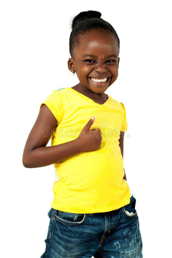 Thumbs up African American girl. royalty free stock photo