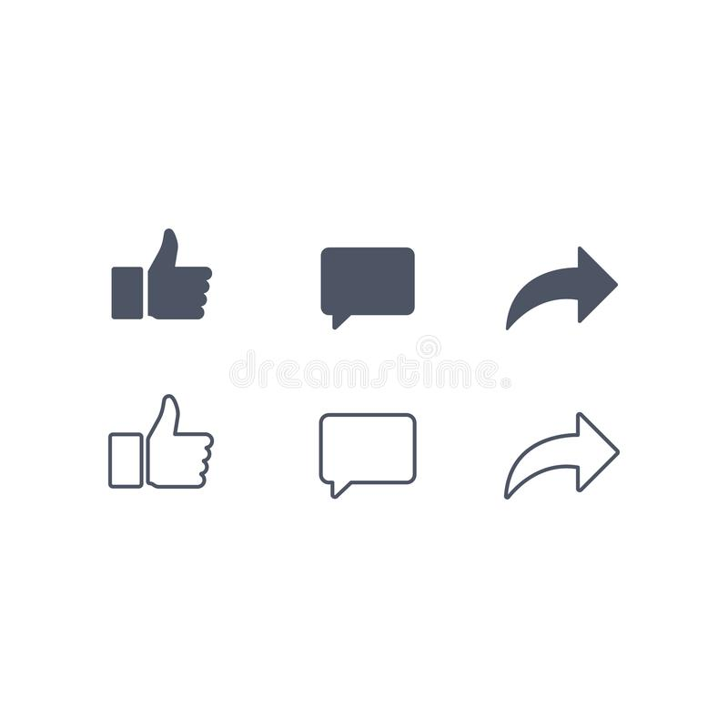 Free Thumbs Up And With Repost And Comment Icons On A White Background. Social Media Icon, Empathetic Emoji Reactions Icon Royalty Free Stock Image - 125190996