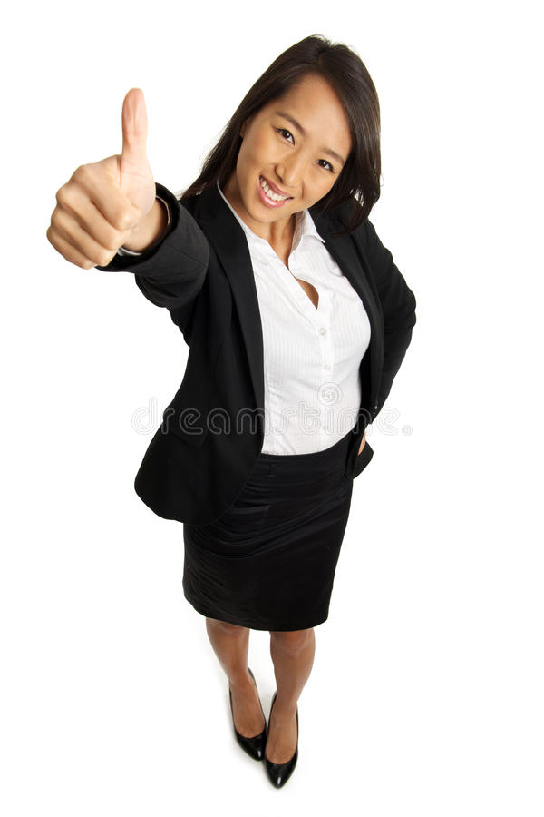 Thumbs up Asian Business Woman. Bird's view of formal Asian Business woman with thumbs up royalty free stock photography