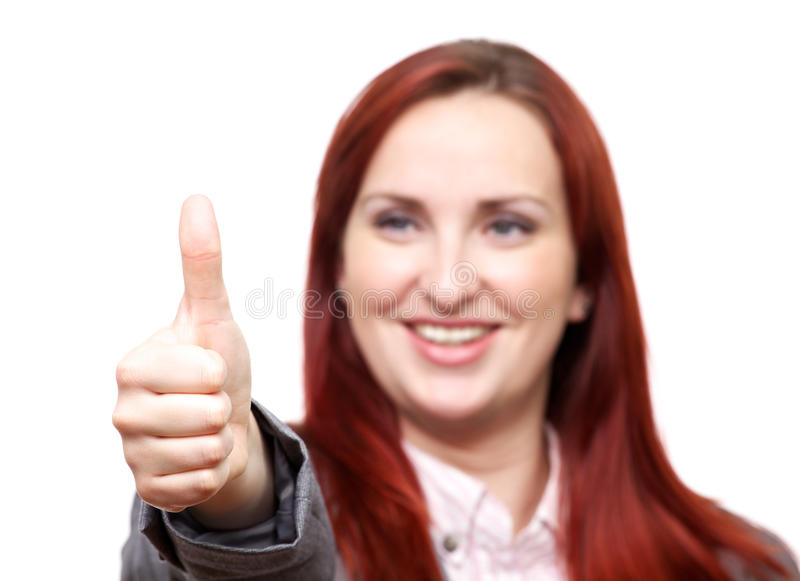 Thumbs up from attractive lady stock photos
