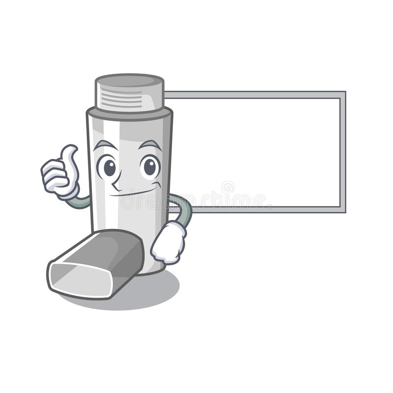 Thumbs up with board asthma inhaler in the cartoon shape. Vector illustration royalty free illustration