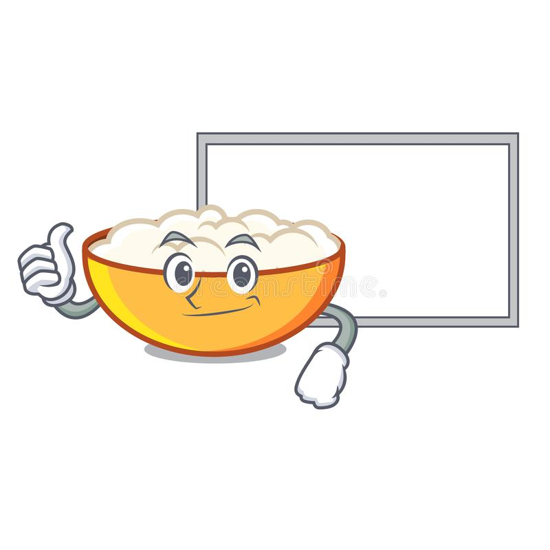 Thumbs up with board cottage cheese character cartoon. Vector illustration stock illustration
