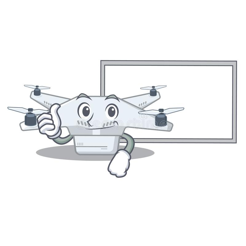 Thumbs up with board drone isolated with in the mascot vector illustration