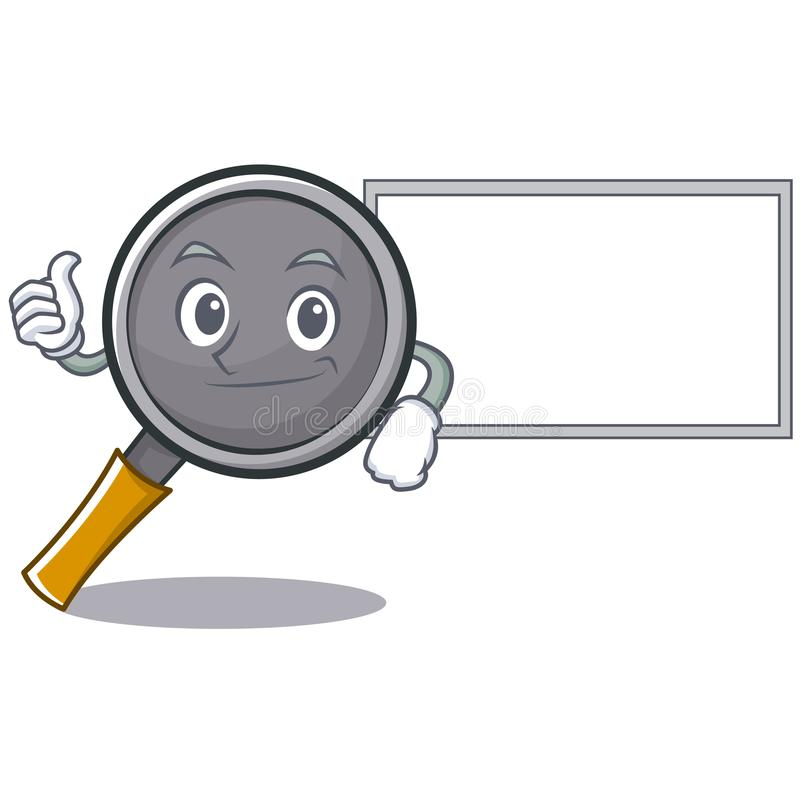 Thumbs up with board frying pan cartoon character. Vector illustration vector illustration