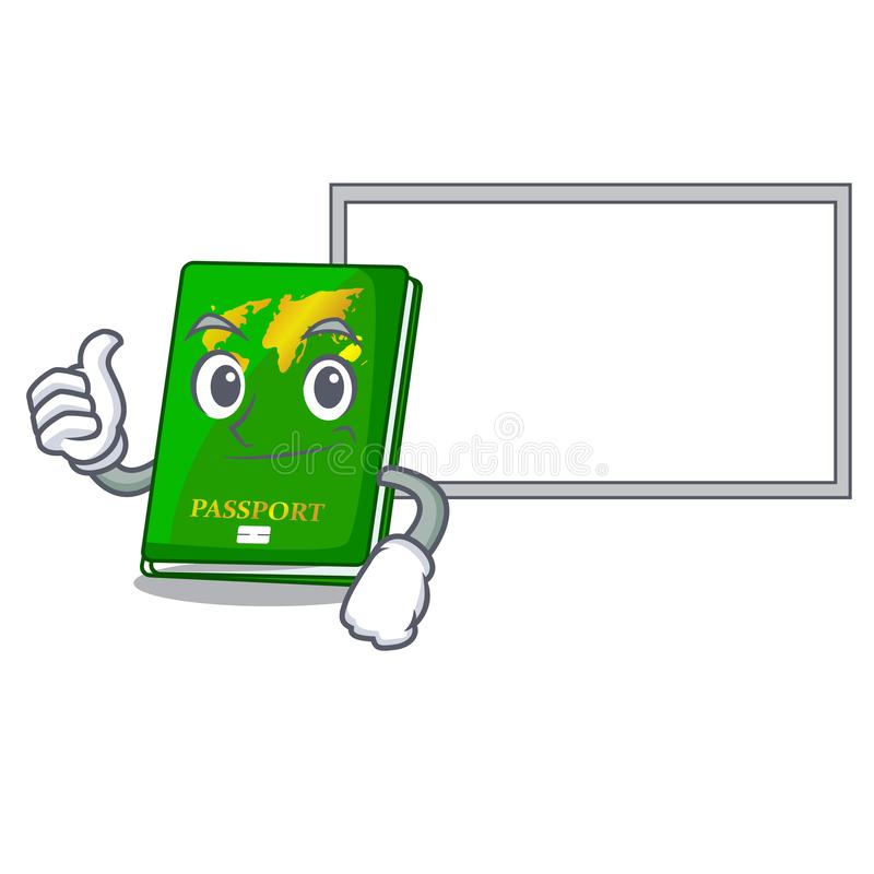 Thumbs up with board green passport in a character bag. Vector illustration vector illustration