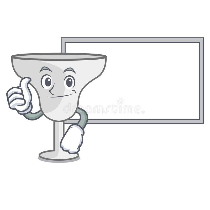 Thumbs up with board margarita glass character cartoon. Vector illustration vector illustration