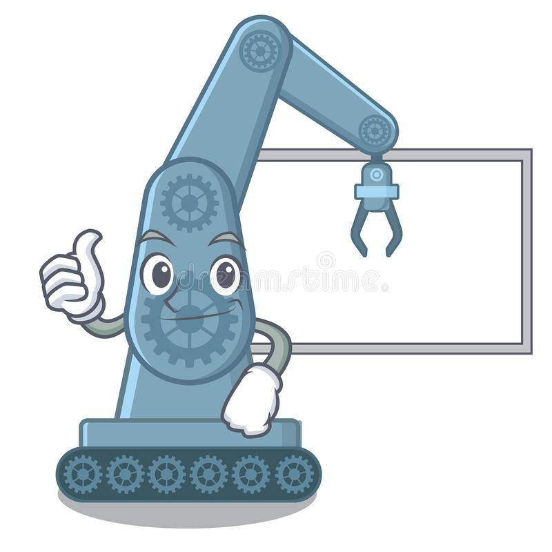 Thumbs up with board mechatronic robotic arm isolated on character stock illustration