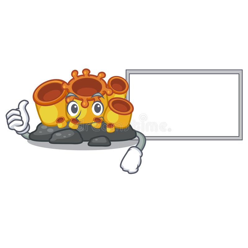 Thumbs up with board miniature orange sponge coral in character. Vector illustration vector illustration