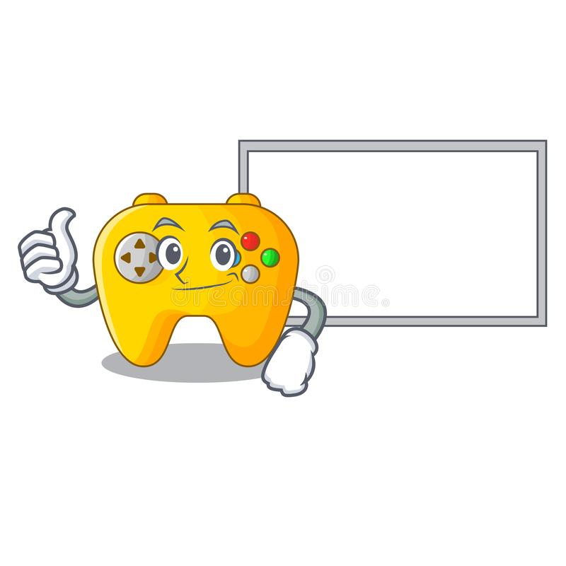 Thumbs up with board modern game shaped controller cartoon wood vector illustration
