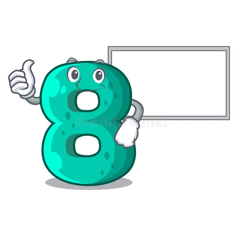 Thumbs up with board raster version cartoon shaped Number Eight. Vector illustration vector illustration