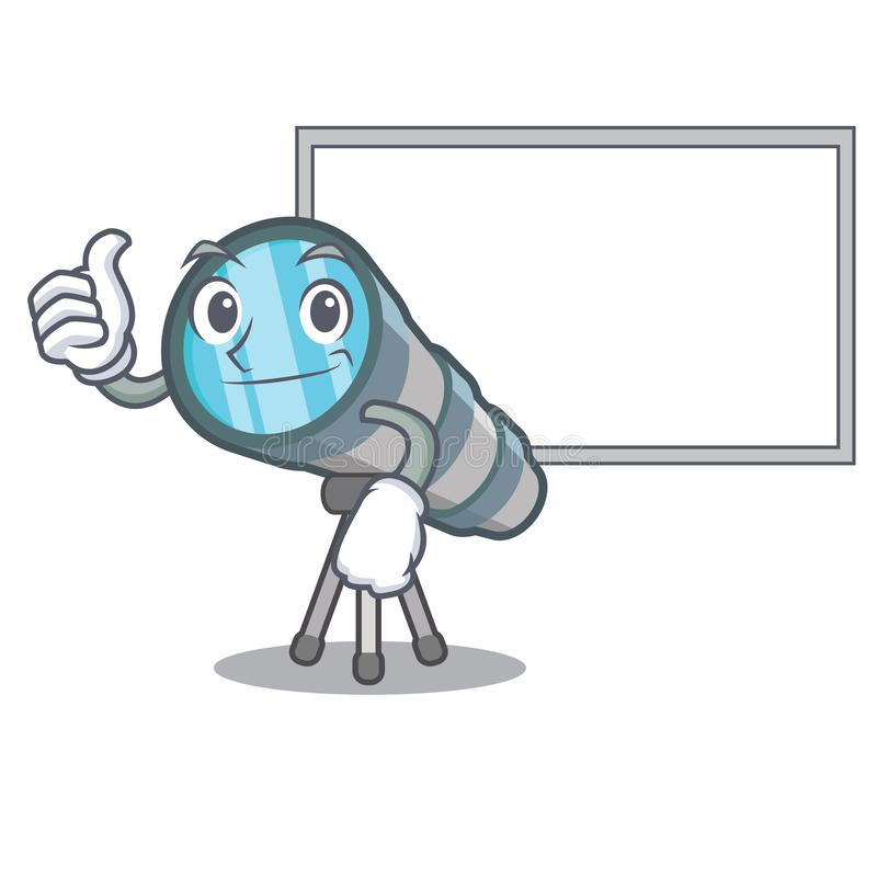 Thumbs up with board telescope isolated with in the mascot. Vector illustration royalty free illustration