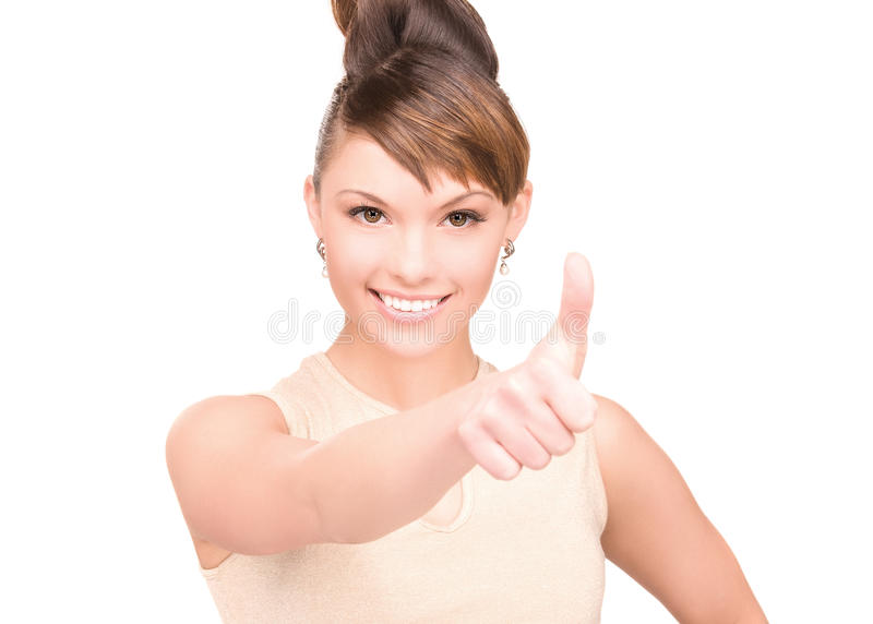 Thumbs up. Bright picture of lovely woman with thumbs up royalty free stock photography