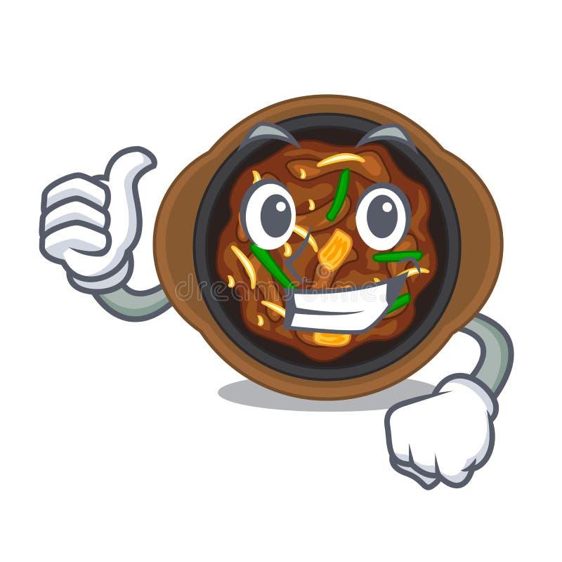 Thumbs up bulgogi in a the bowl cartoon. Vector illustration vector illustration