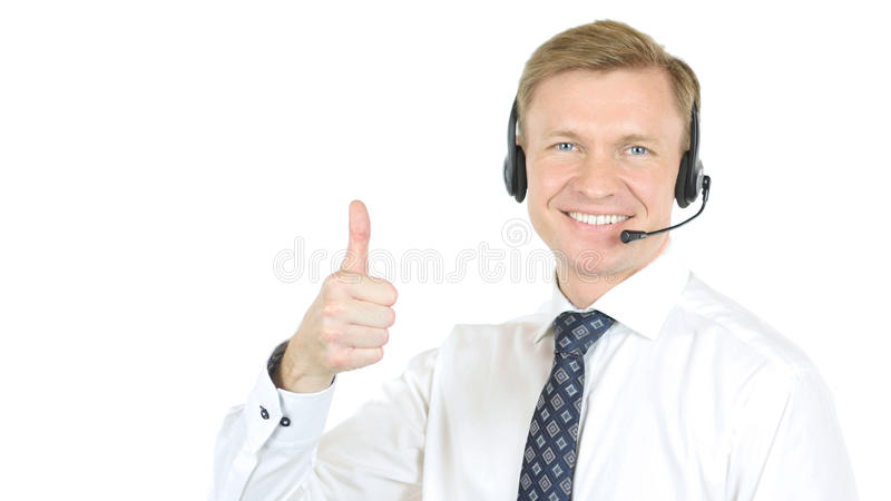 Thumbs Up by Call Center Operator, Helpline Agent stock image