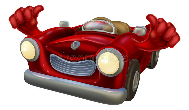 Thumbs up car. Cartoon classic car mascot with a happy face giving a thumbs up stock illustration