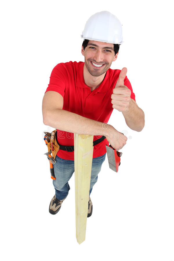 Thumbs up from a carpenter royalty free stock images
