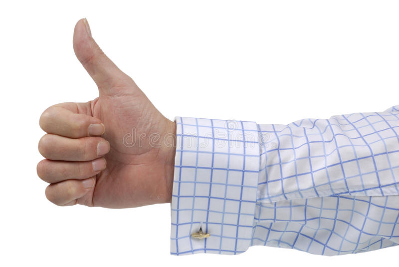 Thumb up sign, businessman hand, isolated on white background royalty free stock image