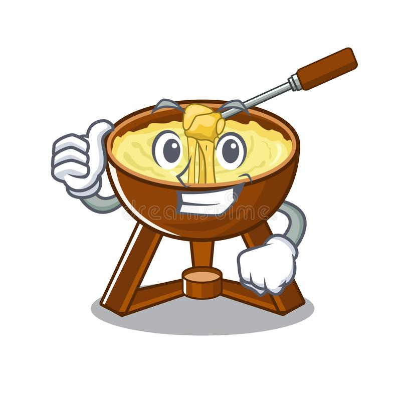 Thumbs up cheese fondue with in mascot shape. Vector illustration royalty free illustration