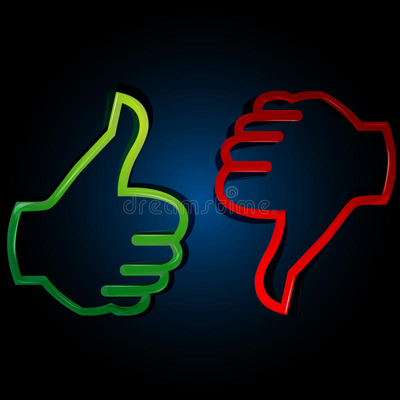 Thumbs up and down. Illustration of thumbs up and down on white background vector illustration