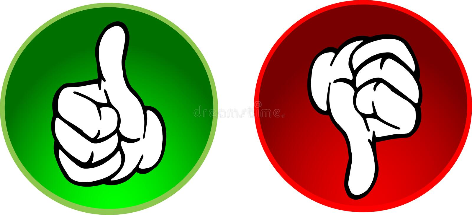 Thumbs up & down buttons vector illustration