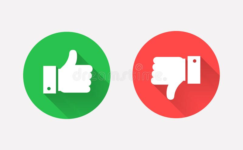 Thumbs up and down flat icon in circle shapes. Thumbs up and down flat icons. Hands showing Like and Dislike signs. Modern circle symbols with long shadows for stock illustration
