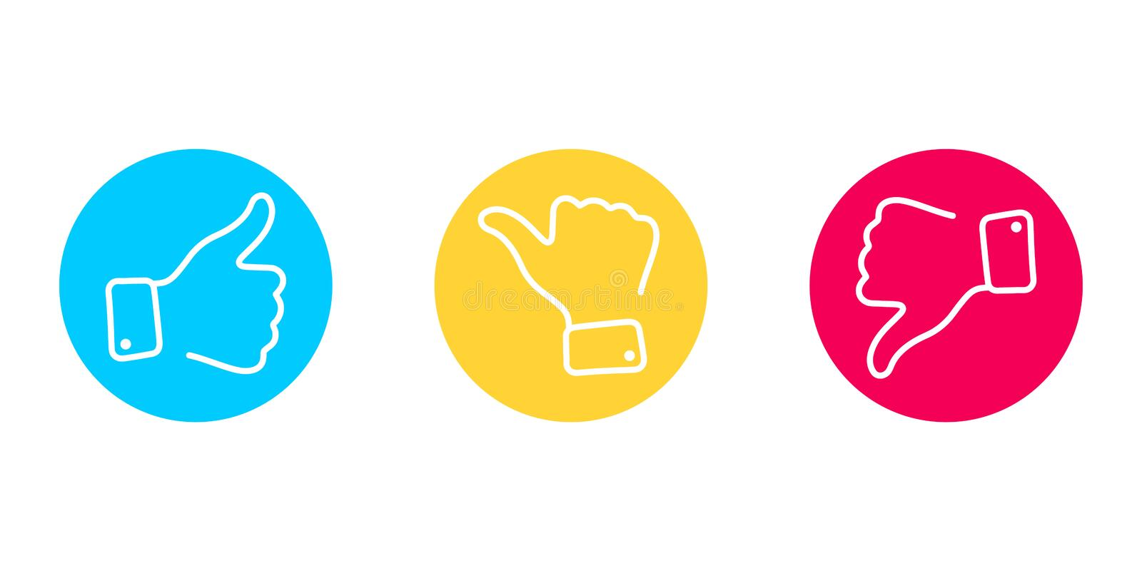 Thumbs up and thumbs down icon set. Like and dislike icons. Line Vector illustration for social network stock illustration