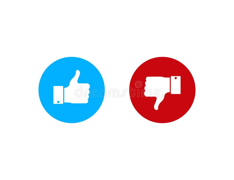 Thumbs up or down.Like and dislike in flat style. Dos and donts like icon. Vector eps10 royalty free illustration