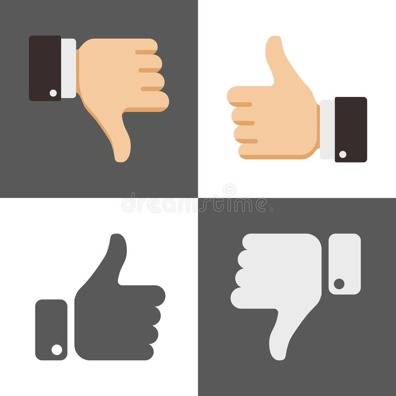Thumbs up and down, like dislike icons for social network. Thumbs up and down, like and dislike icons for social network. Gesture like and ok illustration stock illustration