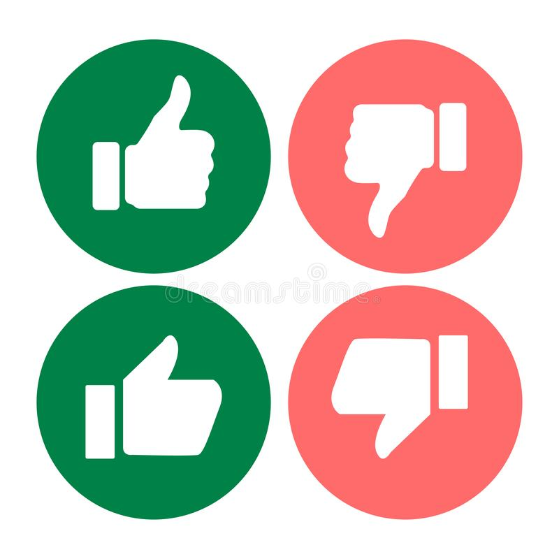 thumbs up down likes on empty background royalty free illustration