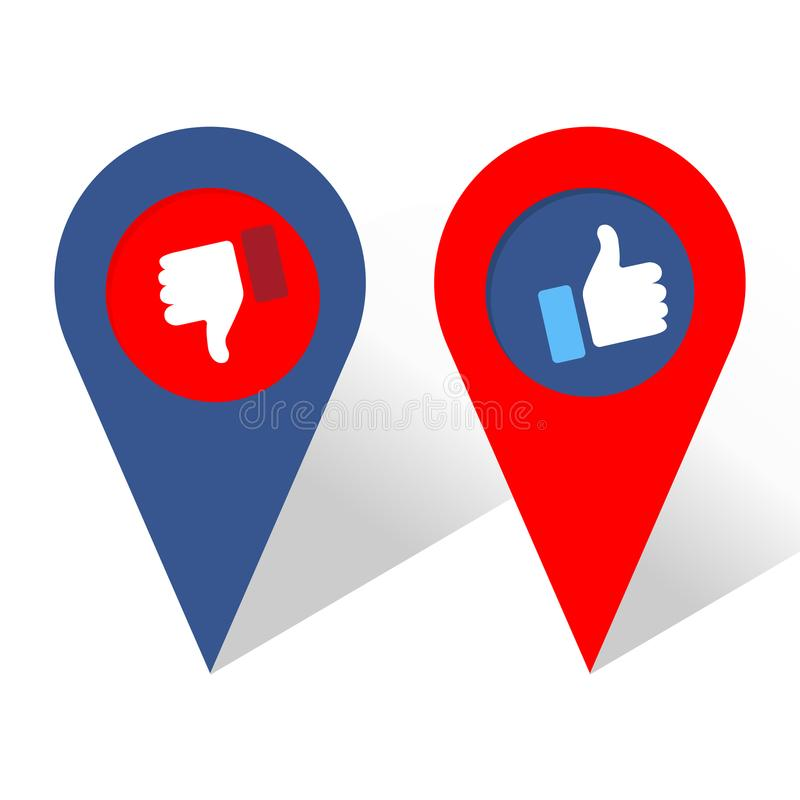 Thumbs up and thumbs down. Navigation icon royalty free illustration