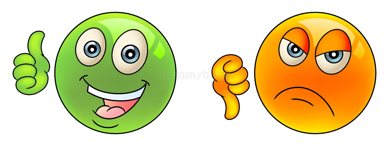 Thumbs up and down stock illustration