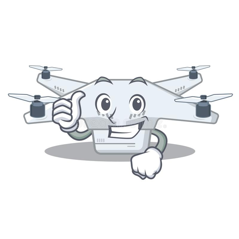 Thumbs up drone toy in cartoon school bag royalty free illustration
