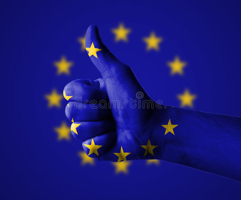 Thumbs up for the European Union. Hand with thumbs up for the European Union stock photo