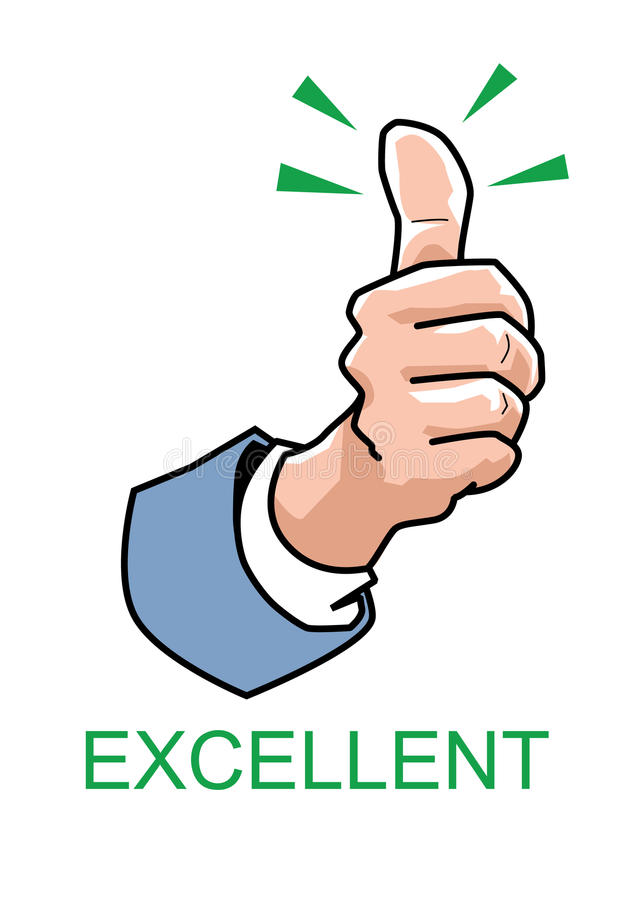 Thumbs up - Excellent. Vector of thumb up on white background stock illustration