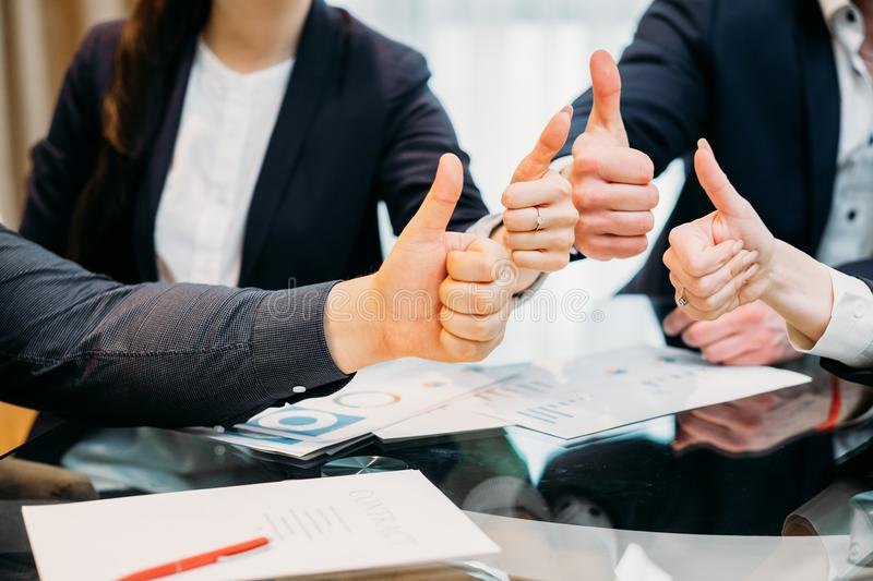 Business thumb up success achievement company royalty free stock photography