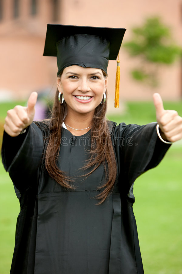 Download Thumbs up graduation woman stock photo. Image of education - 8862878