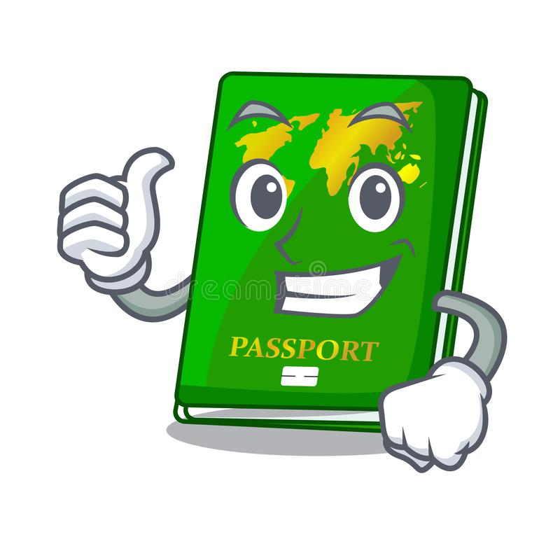 Thumbs up green passport in the cartoon shape. Vector illustration stock illustration