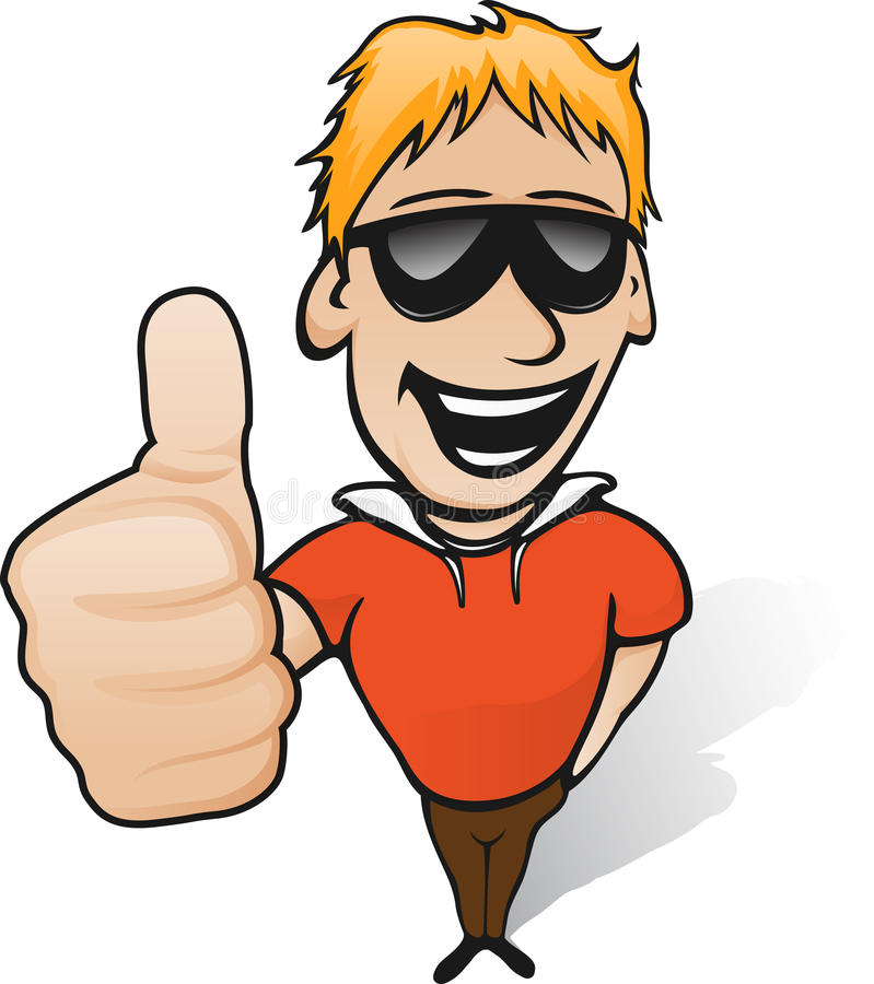 Thumbs up guy vector illustration